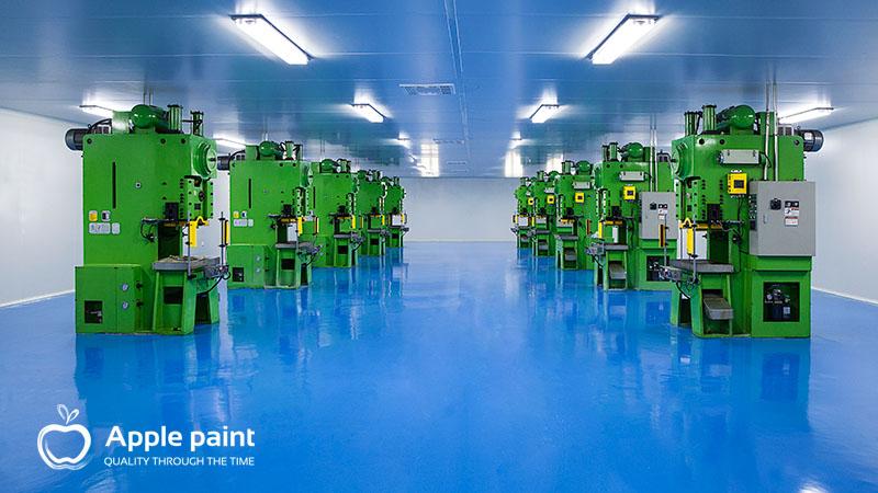 Apple Paint cung cấp và thi công sơn máy móc, sơn sàn epoxy cho cty giày Jia Hsin